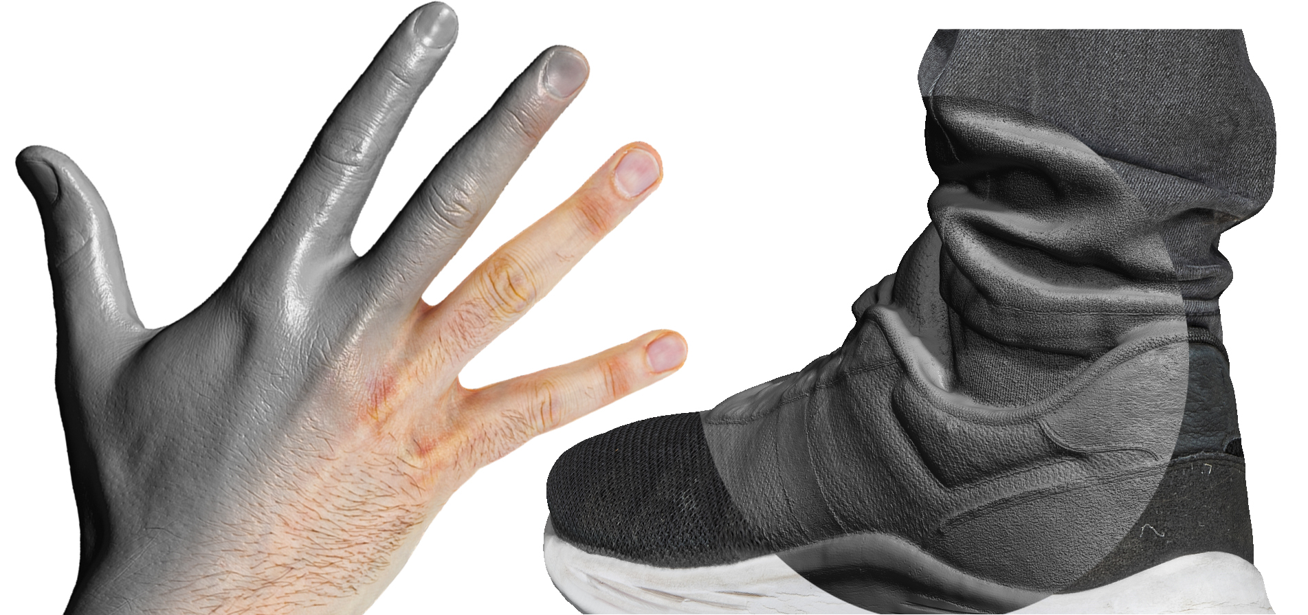 hand feet body parts scanning session